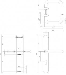 Intersteel Türklinke Rund auf Schild XL mit Profilzylinder-Lochung 72 mm Edelstahl gebürstet - Vorschau 2