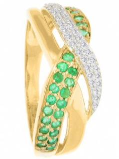 Jacotte - Diamant Smaragd Ring mit Edelstein Gold - 0, 19ct. 3