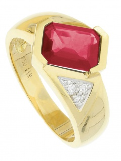 Estima - Rubin Diamant Ring mit Edelstein Gold - 0, 03ct.