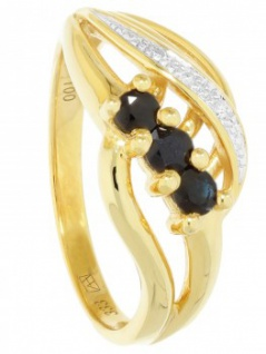 Our Lady - Saphir Diamant Ring mit Edelstein Gold - 0, 01ct. 3