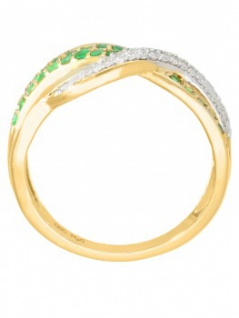 Jacotte - Diamant Smaragd Ring mit Edelstein Gold - 0, 19ct. 4