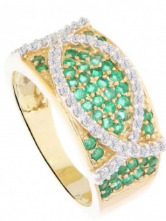 Letice - Brillant Smaragd Ring mit Edelstein Gold - 0, 25ct.
