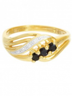 Our Lady - Saphir Diamant Ring mit Edelstein Gold - 0, 01ct. 2