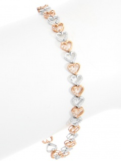 Chain of Hearts - Diamantarmband Weißgold Rosegold