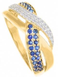 Jacotte - Diamant Saphir Ring mit Edelstein Gold - 0, 19ct.
