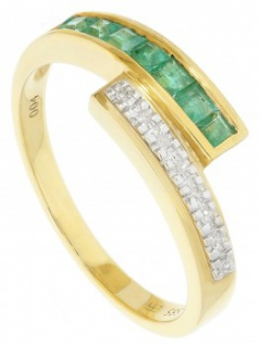 Morposa - Diamant Smaragd Ring mit Edelstein Gold - 0, 04ct.