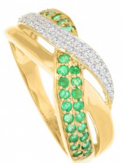 Jacotte - Diamant Smaragd Ring mit Edelstein Gold - 0, 19ct.