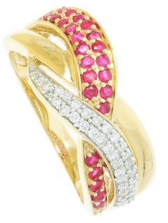 Jacotte - Diamant Rubin Ring mit Edelstein Gold