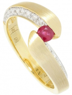 Fontaine - Diamant Rubin Ring mit Edelstein Gold