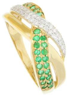 Jacotte - Diamant Smaragd Ring mit Edelstein Gold