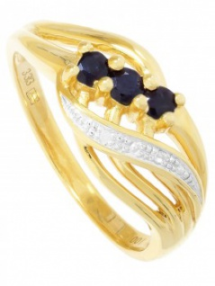 Our Lady - Saphir Diamant Ring mit Edelstein Gold - 0, 01ct. 1