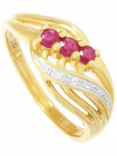 Our Lady - Rubin Diamant Ring mit Edelstein Gold - 0, 01ct.