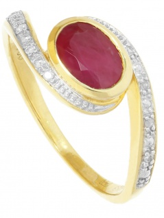 Hungaria - Rubin Diamant Ring mit Edelstein Gold