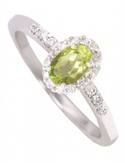 Fire - Peridot Diamant Ring mit Edelstein Weissgold - 0, 16ct.