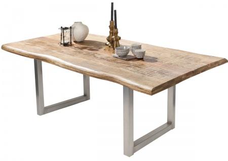 TABLES&CO Tisch 240x100 Mango Natur Metall Silber