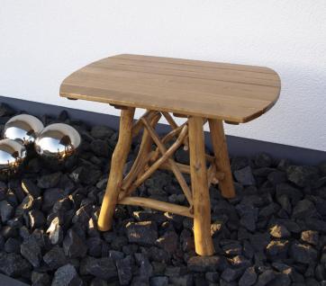 Knüppelholztisch Gartentisch Tisch Holztisch oval 100x74 cm Gartenmöbel massiv