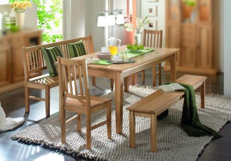 Essgruppe Esszimmergruppe Tisch Bank Stühle Esszimmer Eiche massiv geölt natur - Vorschau 1
