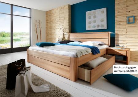 Schubkastenbett Doppelbett aus massiver Kernbuche Überlänge möglich