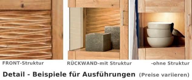 Vitrinenschrank Schrank Wohnzimmerschrank Vitrine Wildeiche geölt massiv - Vorschau 3