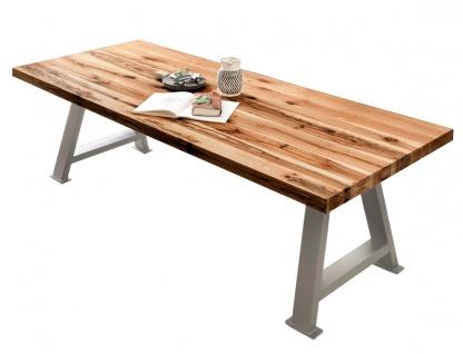 TABLES&CO Tisch 180x100 Balkeneiche Natur Metall Silber