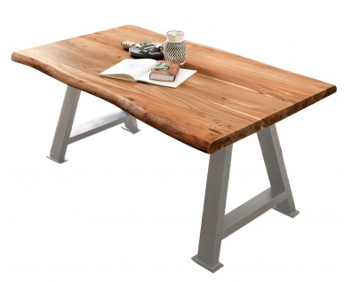 TABLES&CO Tisch 240x100 Akazie Natur Metall Silber