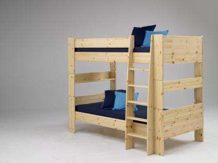 Etagenbett Hochbett 2er Etagen Bett Kiefer massiv weiß natur lackiert Massivholz - Vorschau 1