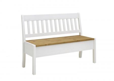 Sitzbank Bank Kiefer massiv Weiß 130x58 cm