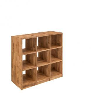 Regal Bücherregal Standregal 9 Fächer Büroregal Wildeiche massiv Aufbewahrung