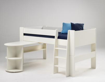 halbhohes Bett Kinderbett + Anbauschreibtisch MDF weiß Hochbett Schreibtisch