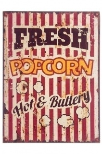 Holzschild Popcorn MDF Mehrfarbig