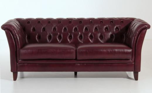 Sofa Couch 2, 5-sitzig Leder Wischleder rot Chesterfield England Knopfheftung