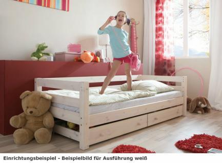 Einzelbett mit Lattenrost Kinderbett Schubkasten Schubladenbett Kiefer massiv