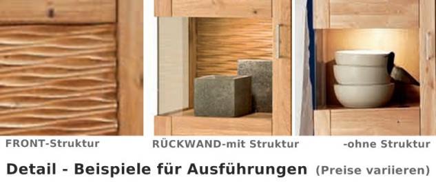 Wohnwand Wohnzimmer TV-Board Wandboard Vitrine Hängeschrank Wildeiche massiv - Vorschau 3