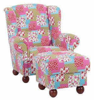 ohrensessel mit hocker ohrenbackensessel sessel hocker landhaus patchwork bunt kaufen bei saku. Black Bedroom Furniture Sets. Home Design Ideas