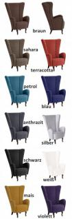 Sessel Ohrensessel Textilsessel hoch weiches Flachgewebe modern extravagant