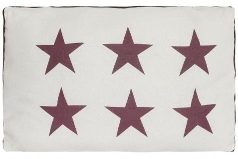 Kissen Six Stars Baumwolle Weiß&Rot