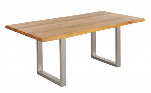 Tisch Esstisch Wildeiche massiv geölt 180x100 cm Baumkante Metall Beine rustikal