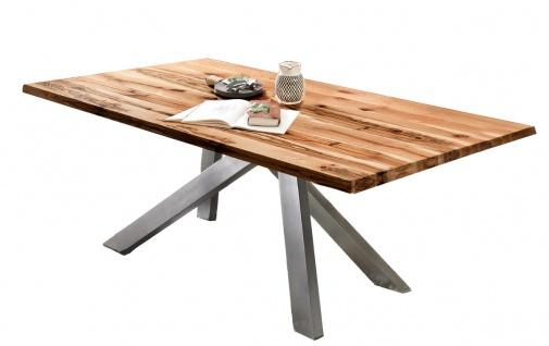 TABLES&Co Tisch 200x100 Balkeneiche Natur Metall Silber