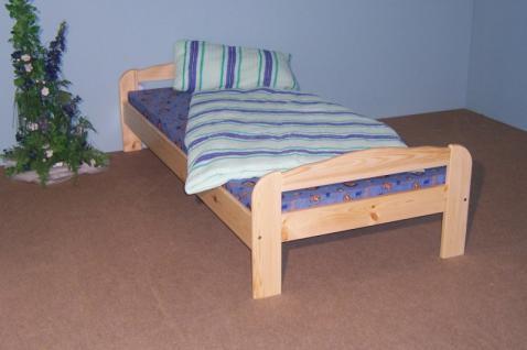 Einzelbett Bett Gästebett Futonliege 100x200 massiv natur lackiert - Vorschau