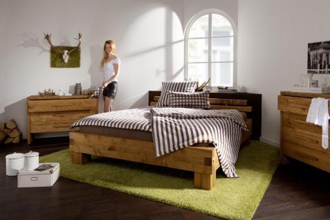 Bett Doppelbett + Kopfteil Fichte Kiefer massiv natur gewachst gebeizt rustikal - Vorschau 3