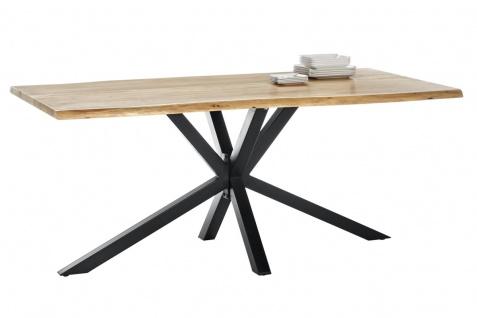 TISCHE&BÄNKE Tisch 180x90 Akazie Natur Metall Antikschwarz