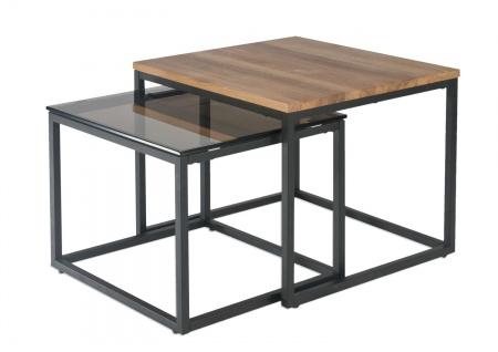 Couchtisch Beistelltisch 2-Satz-Tisch 55x40 Wildeiche