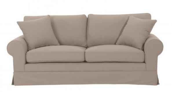Sofa Polstersofa Couch gepolstert 3-Sitzer Leinenoptik Volant Landhaus Romantik