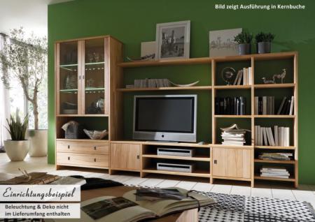 Regalwand Wohnwand TV Wand System Kernbuche Wildeiche White Wash massiv
