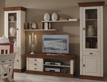 Wohnwand Wohnzimmer Set Vitrinen Wandboard TV-Board Kiefer massiv bernstein weiß - Vorschau 1