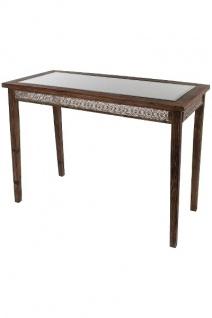 Holztisch Qasim mit Glasplatte Holz&Metall Silber