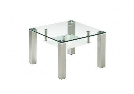 Couchtisch Beistelltisch Glas und Metall 65x65 cm