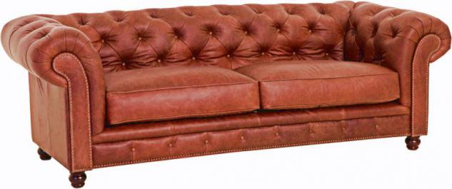 Sofa Couch 2, 5-sitzig Ledersofa Leder vintage cognac old england klassisch