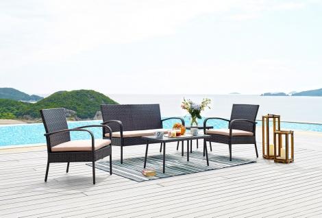 Sitzgruppe Lounge Set 4-teilig Grau