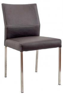 Stuhl Lederbezug Leder kaffee Vierkant Edelstahl Füße modern